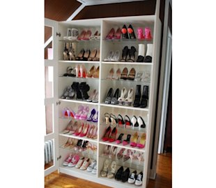 Shoe rack srorage closet solution using a bookcase