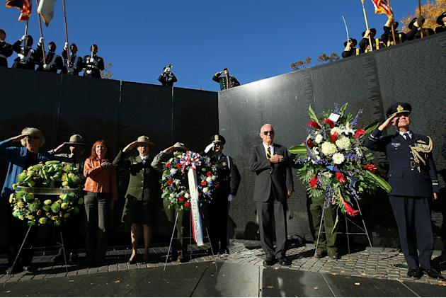 Veterans Day Ceremony Held At Vietnam Veterans Memorial