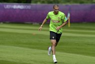 Portuguese defender Pepe, pictured on June 19, is not renowned for his discipline on the pitch but it is no coincidence that their progress to the Euro 2012 quarter-finals has been helped no end by the restraint he has shown here