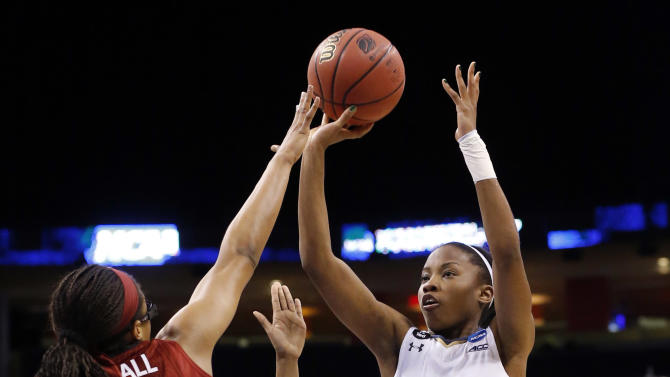 Notre Dame guard Lindsay Allen (15) shoots over Stanford forward Erica McCall (24) during the second half of a women's college basketball regional semifinal game in the NCAA Tournament, Friday, March 27, 2015, in Oklahoma City. (AP Photo/Sue Ogrocki)