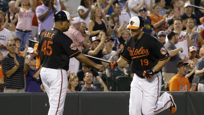 Baltimore Orioles' Chris Davis, right, fist-bumps third base coach DeMarlo Hale after hitting a solo home run in the second inning of a baseball game against the Toronto Blue Jays in Baltimore, Friday, Aug. 24, 2012. (AP Photo/Patrick Semansky)