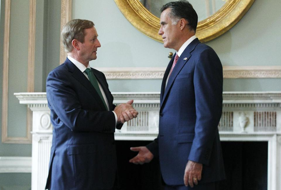 Republican presidential candidate, former Massachusetts Gov. Mitt Romney meets with Ireland's Prime Minister Enda Kenny at the Embassy of Ireland in London, Friday, July 27, 2012. (AP Photo/Charles Dharapak)