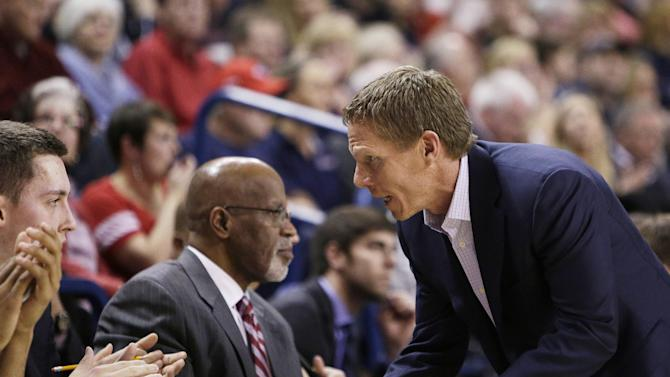 Gonzaga head coach Mark Few speaks with his bench during the first half of an NCAA college basketball game against BYU, Saturday, Feb. 28, 2015, in Spokane, Wash. (AP Photo/Young Kwak)