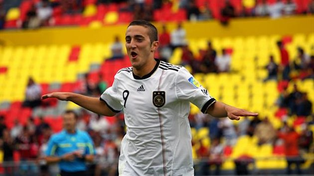 German player Samed Yesil celebrates his goal against England during their FIFA U-17 World Cup quarterfinal football match in Morelia, Mexico on July 4, 2011 (AFP)