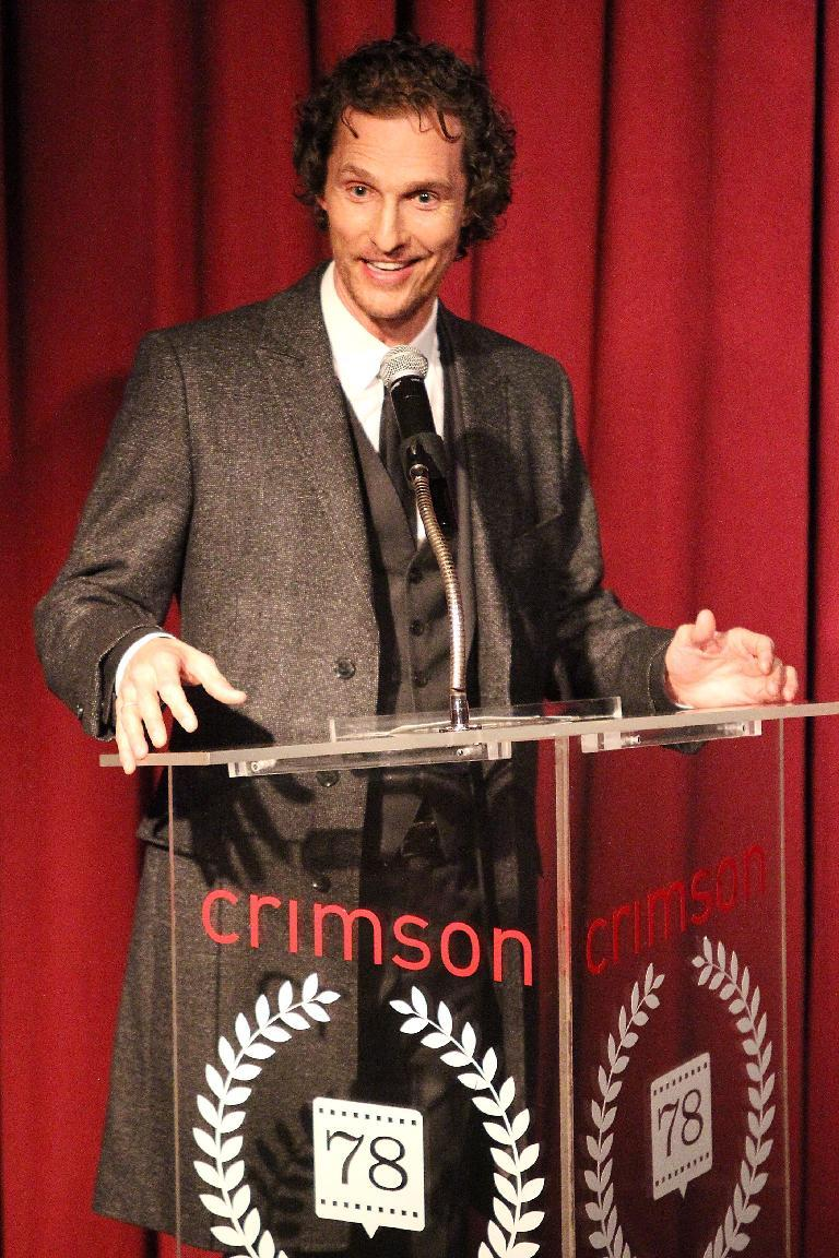 "This Jan. 7, 2013 photo released by Starpix shows actor Matthew McConaughey speaking at the New York Film Critics Circle Awards at the Crimson Club in New York. Matthew McConaughey won the award for best supporting actor for his performances in ""Bernie,"" and ""Magic Mike."" (AP Photo/Starpix, Kristina Bumphrey)"