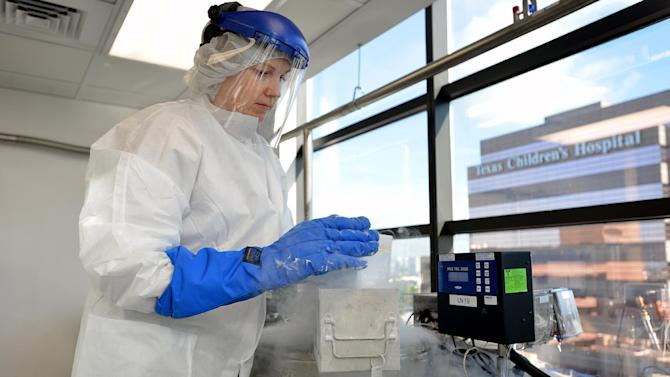 Dr. Ann Leen in the Center for Cell and Gene Therapy storing frozen samples of T cells