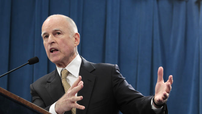 Gov. Jerry Brown discuss his call for federal judges to return control of California prison to the state during a news conference at the Capitol in Sacramento, Calif., Tuesday, Jan. 8, 2013.   Brown said that it is too dangerous for the state to further reduce its prison population as required by a federal court order. (Photo/Rich Pedroncelli)