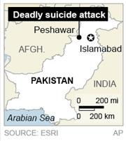 Map locates Peshawar, Pakistan, where a suicide bomber killed at least six people