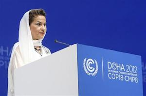 U.N. Convention on Climate Change Executive Secretary Figueres talks during opening ceremony of plenary session of COP18 in Doha