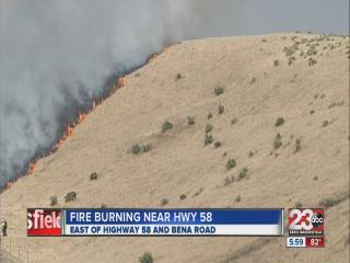 Fire burning near Highway 58