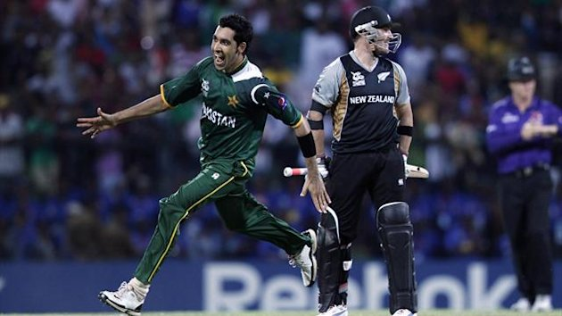 Pakistan's Gul celebrates after taking the wicket of New Zealand's McCullum during their Twenty20 World Cup cricket match in Pallekele