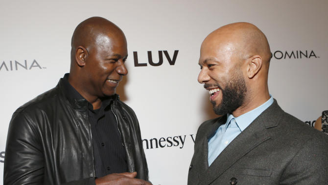"Dennis Haysbert and Common attend the LA premiere of ""Luv"" at the Pacific Design Center on Thursday, Jan. 10, 2013, in West Hollywood, California. (Photo by Todd Williamson/Invision/AP)"