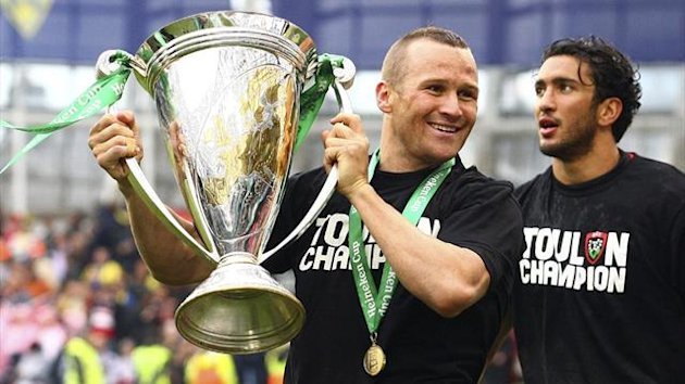 Toulon's Matt Giteau celebrates winning the Heineken Cup at the Aviva Stadium in Dublin (Reuters)