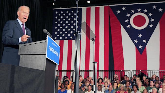 Vice President Joe Biden makes a point during a campaign speech, Wednesday, Sept. 12, 2012, at Wright State University in Dayton, Ohio. (AP Photo/Al Behrman)