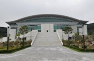 "The gymnasium in Gapyeong where an altar for the late Unification Church founder Sun Myung Moon will be set up. A church statement said Moon's body would ""lie in state"" for 13 days prior to his funeral on September 15, but a spokesman later said it had not been decided whether public viewing would be allowed"