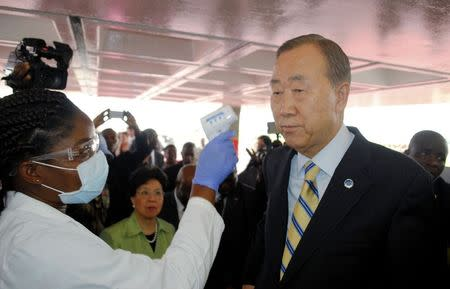 U.N.'s Ban urges end to discrimination against Ebola workers