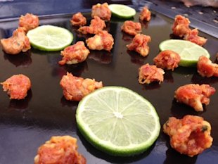 Grilling the chorizo and lime