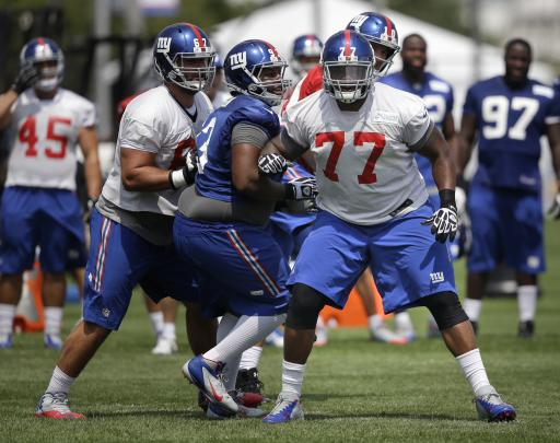 Giants' O-line a jumble as camp begins