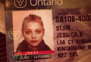 Model Jessica Stam looking pretty on her Ontario license