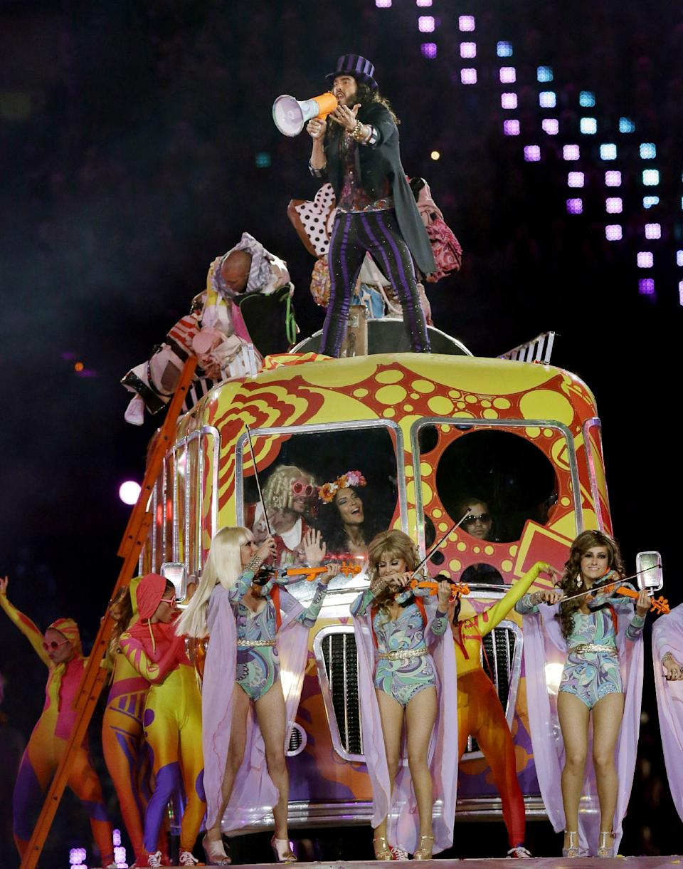 British comedian Russell Brand performs during the Closing Ceremony at the 2012 Summer Olympics, Sunday, Aug. 12, 2012, in London. (AP Photo/Charlie Riedel)