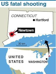 Map locating shooting rampage in the US, Connecticut community of Newtown