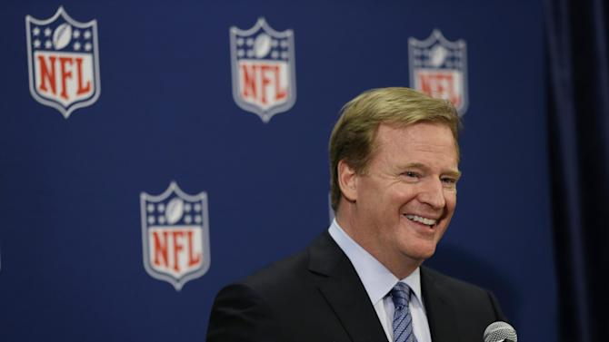 FILE - In this May 21, 2013, file photo, NFL Commissioner Roger Goodell speaks during a news conference at the NFL football spring meeting in Boston. Goodell says Wednesday, Sept. 18, 2013, that he believes new player safety rules in the NFL are working. (AP Photo/Elise Amendola, File)