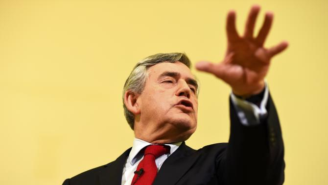 Britain's former Prime Minister Gordon Brown speaks at a campaign event in favour of the union in Clydebank, Scotland