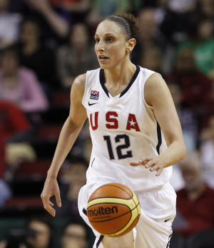 FILE - In this photo May 12, 2012 file photo, United States' Diana Taurasi competes against China in an exhibition women's basketball game in Seattle.  The U.S. begins its quest for a fifth straight Olympic gold medal against Croatia on Saturday, July 28, 2012, a team the Americans beat 109-55 a week ago in Istanbul.(AP Photo/Elaine Thompson, File)
