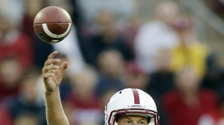 Stanford quarterback Josh Nunes (6) throws against the San Jose State during the first half of an NCAA college football game in Stanford, Calif., Friday, Aug.  31, 2012. (AP Photo/Marcio Jose Sanchez)