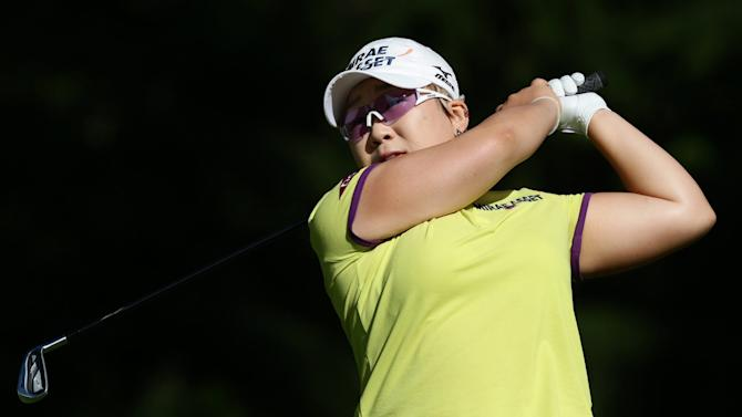 Jiyai Shin, of South Korea, hits her tee shot on the third hole during the third round of the Canadian Women's Open LPGA tournament at Vancouver Golf Club in Coquitlam, British Columbia, Canada on Saturday, Aug. 25, 2012.  (AP Photo/The Canadian Press,Darryl Dyck)