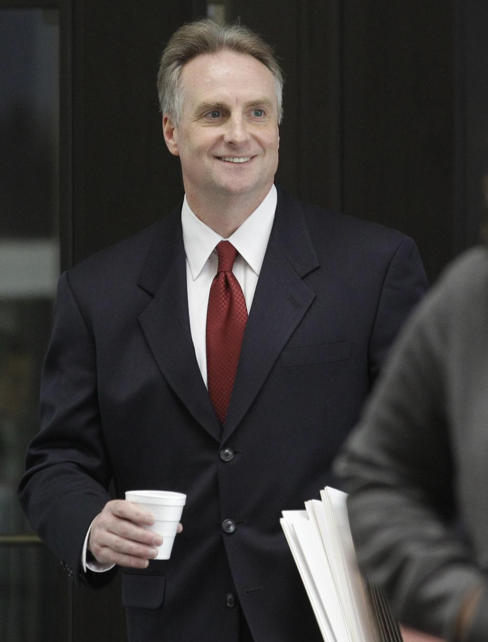 James McKay, lead prosecutor in the William Balfour murder trial arrives at  Cook County Criminal Court, Wednesday, May 9, 2012, in Chicago as closing arguments are set to begin. Balfour, is charged in the 2008 murder of Oscar and Grammy winning performer Jennifer Hudson's mother, brother and nephew. (AP Photo/M. Spencer Green)