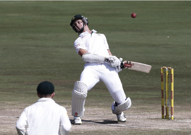 South Africa's McLaren ducks a bouncer during the fourth day of their first cricket test match against Australia in Pretoria