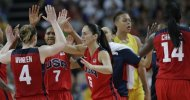 USA's Sue Bird (6) celebrates with teammates Lindsay Whalen (4) and Maya Moore (7) during a semifinal women's basketball game against Australia at the 2012 Summer Olympics, Thursday, Aug. 9, 2012, in London. (AP Photo/Eric Gay)