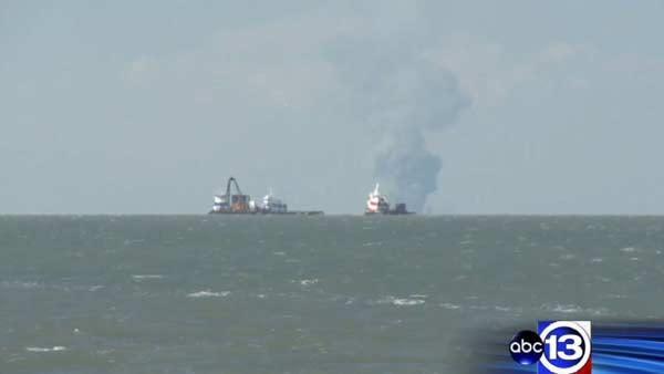 Oil platform fire caught on camera