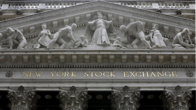 FILE - This Thursday, Oct. 2, 2014, file photo, shows the facade of the New York Stock Exchange. European stocks were little changed and Treasury prices rose Thursday, July 2, 2015, following a solid U.S. jobs report for June. (AP Photo/Richard Drew, File)