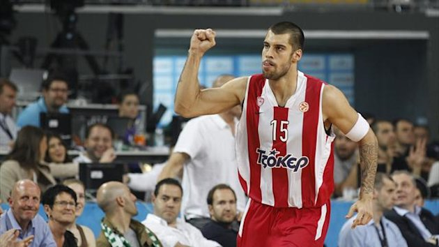 Olympiacos' Georgios Printezis reacts during the game (Reuters)