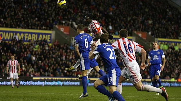 Kenwyne Jones, top, was on target with Stoke's equaliser against Everton