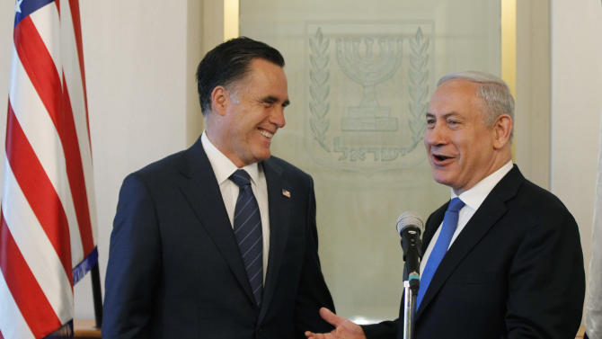 Republican presidential candidate and former Massachusetts Gov. Mitt Romney meets with Israel's Prime Minister Benjamin Netanyahu, in Jerusalem, Sunday, July 29, 2012. (AP Photo/Charles Dharapak)