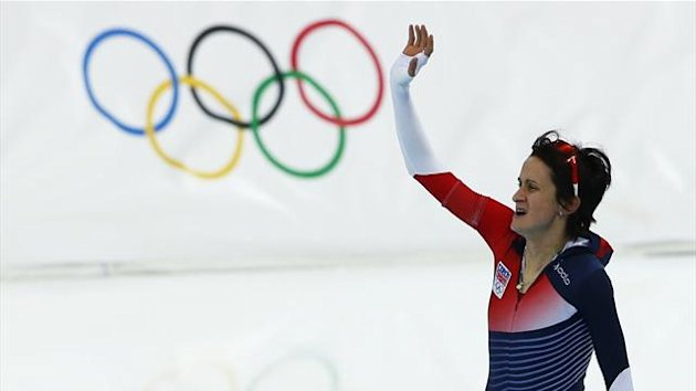 Martina Sablikova of the Czech Republic waves after the women's 5,000 metres speed skating race (Reuters)