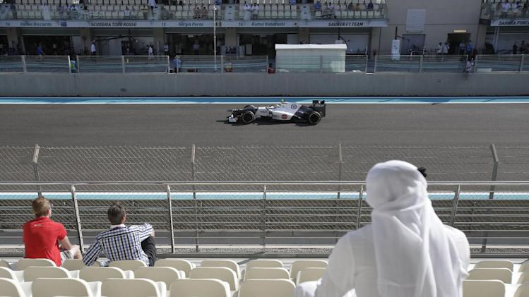 Sauber driver Sergio Perez of Mexico drives his car during the third free practice at the Yas Marina racetrack in Abu Dhabi, United Arab Emirates, Saturday, Nov. 3, 2012. The Emirates Formula One Grand Prix will take place on Sunday. (AP Photo/Kamran Jebreili)