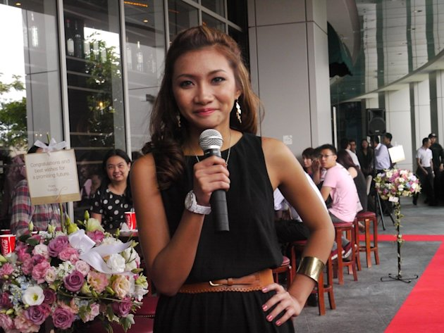 The 19-year old speaks to the audience about her charity plans. (Yahoo! Singapore/ Deborah Choo)