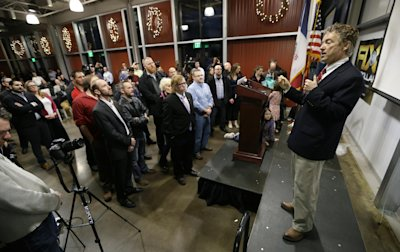 U.S. Sen. Rand Paul, R-Ky., speaks during a rally hosted by Liberty Iowa, Friday, Feb. 6, 2015, at Jasper Winery in Des Moines, Iowa. (AP Photo/Charli...