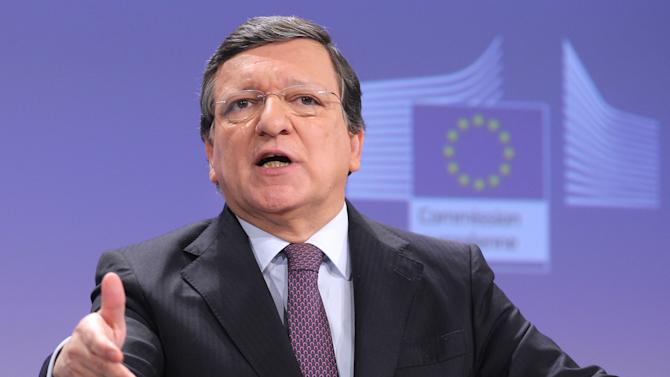 CORRECTS MONTH TO FEB  European Commission President Jose Manuel Barroso addresses the media, at the European Commission headquarters in Brussels, Wednesday, Feb. 13, 2013. The EU and the U.S. agreed on Wednesday to launch talks for a trans-Atlantic free trade deal. (AP Photo/Yves Logghe)