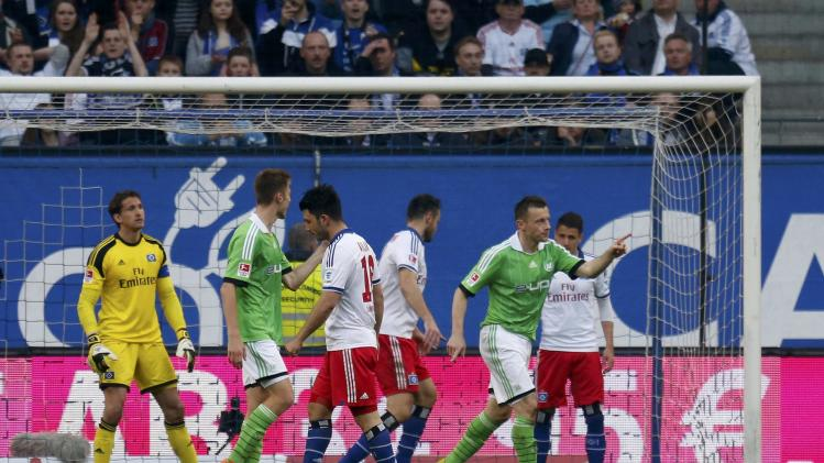 VfL Wolfsburg's Olic celebrates goal against Hamburger SV during their Bundesliga soccer match in Hamburg
