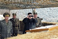 North Korean leader Kim Jong-Un use binoculars to inspect a live fire drill at an undisclosed location in North Korea, March 20, 2013. North Korea issued an air raid warning and put its military on alert Thursday, South Korea's Unification Ministry said, in what appeared to be a drill at a time of heightened tensions