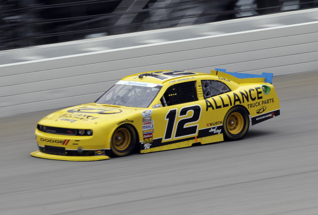 Sam Hornish Jr., competes during the NASCAR Nationwide Series auto race at Chicagoland Speedway in Joliet, Ill., Sunday, July 22, 2012. (AP Photo/Nam Y. Huh)