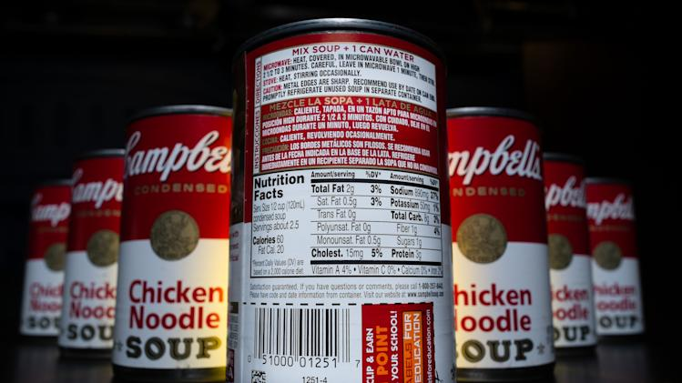 The nutrition information is shown on the back of a Campbell's Chicken Noodle soup can in Washington, Wednesday, Jan. 8, 2014. Some of the nation's largest food companies have cut their calories by the trillions according to a new study. (AP Photo/J. David Ake)