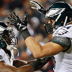 Philadelphia Eagles quarterback Mark Sanchez hits wide receiver Riley Cooper for a 16-yard touchdown