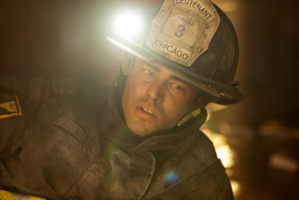 "This image released by NBC shows Taylor Kinney as Kelly Severide in a scene from ""Chicago Fire,"" premiering Oct. 10 at 10 p.m. EST on NBC. (AP Photo/NBC)"