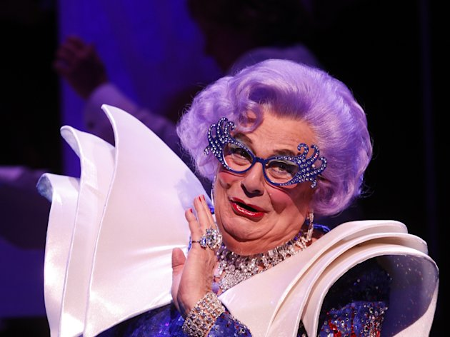 "In this theater publicity image released by Jeffrey Richards & Associates, Barry Humphries plays Dame Edna in ""All About Me,"" playing at Broadway's Henry Miller's Theatre in New York. (AP Photo/Jeffrey Richards & Associates, Joan Marcus)"